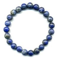 Bracelet en lapis lazuli boules 8mm