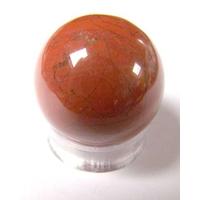 Boule de massage en Jaspe Rouge  de 3 cm avec  support plexi