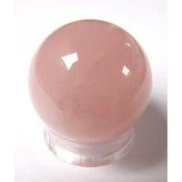 Boule de massage en Quartz rose de 3cm avec support plexi