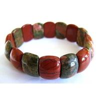 Bracelet Fingernail en Jaspe rouge et unakite