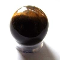 Boule de massage en Oeil de tigre 4cm avec support plexi