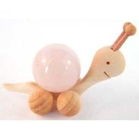 Boule de massage 2 cm en Quartz Rose  support escargot