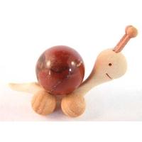 Boule de massage 2 cm en Jaspe Rouge  support escargot