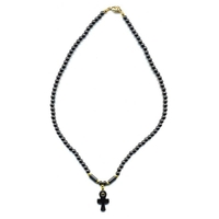 Collier hematite croix egyptienne