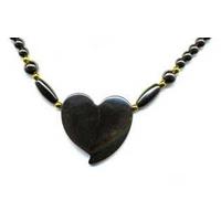 Collier hematite coeur reflet