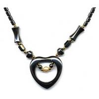 Collier hématite coeur avec perle naturelle
