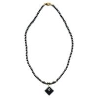 Collier hematite avec losange et perles