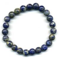 Bracelet en lapis lazuli boules 8mm De Luxe