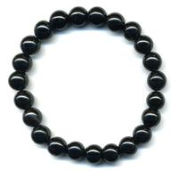 Bracelet en obsidienne noire boules 8mm