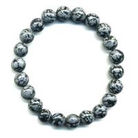Bracelet en obsidienne neige boules 8mm