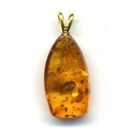 Pendentif ambre EXTRA avec Bélière argent rodié