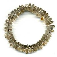 Bracelet pierres plates en Quartz fumé