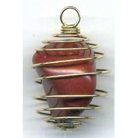 Pendentif Jaspe Rouge 15mm en spirale