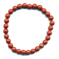 Bracelet en jaspe rouge boules 6mm
