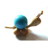 Boule de massage 2 cm en Howlite turquoise  support escargot