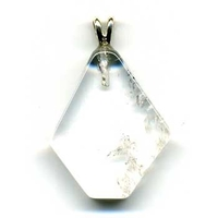 Pendentif Cristal de Roche Hexagonal Extra bélière argent