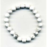 Bracelet en howlite blanche boules 8mm