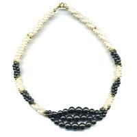 Collier hematite perles 3 rangées