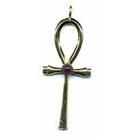 Croix Ankh métal doré a l'or fin 18 carats et améthyste
