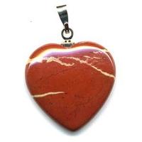 Pendentif Jaspe rouge 20mm en Coeur