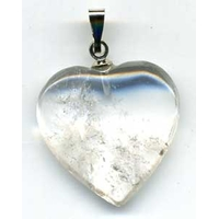 Pendentif Cristal de roche naturel 20mm en Coeur