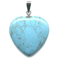 Pendentif howlite turquoise 20mm en Coeur