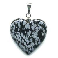 Pendentif Obsidienne neige 20mm en Coeur