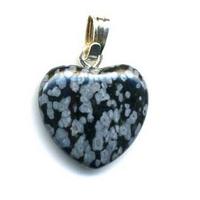 Pendentif Obsidienne Neige 15mm en Petit Coeur