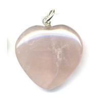 Pendentif Bombé quartz rose 25 mm en Coeur