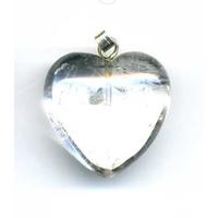 Pendentif Bombé Cristal de Roche 25 mm en Coeur