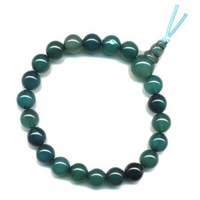 Mala tibétain 21 graines Power Bracelet Agate bleue boule 8 mm
