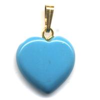 Pendentif Howlite turquoise 15 mm en Petit Coeur