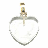 Pendentif Cristal de Roche 15 mm en Petit Coeur