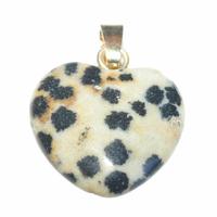 Pendentif Jaspe Dalmatien 15 mm en Petit Coeur