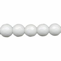 Perle en Jade blanc facettée boule 8 mm - Lot de 10 pièces