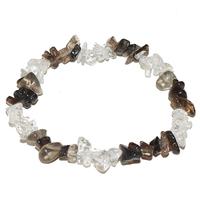 Bracelet baroque duo Cristal de roche et Quartz fumé