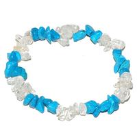 Bracelet baroque duo Howlite turquoise et Cristal de roche