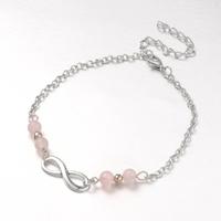 Bracelet de cheville en quartz rose réglable