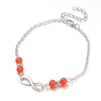 Bracelet de cheville en agate rouge réglable