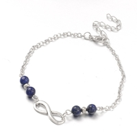 Bracelet de cheville en lapis lazuli réglable