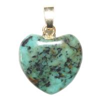 Pendentif Turquoise Africaine 15 mm en Petit Coeur