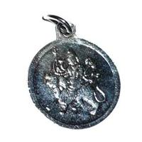 Durga Argenté en relief 20mm + yantra au verso