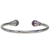 Bracelet magnétique métal argenté jonc finition 2 boules Améthyste