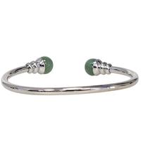 Bracelet magnétique métal argenté jonc finition 2 boules Aventurine