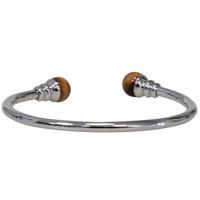 Bracelet magnétique métal argenté jonc finition 2 boules Oeil de Tigre