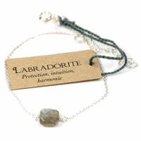 Bracelet en argent coussin de Labradorite 7 mm