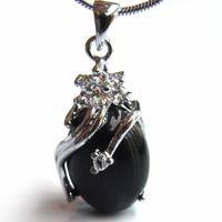 Pendentif Obsidienne noire ovale plaqué argent