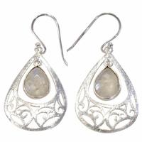 Boucles d'oreilles pierre de lune goutte style baroque en argent