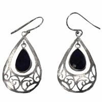 Boucles d'oreilles lapis lazuli goutte style baroque en argent
