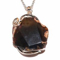 Agate noire tranche facettée en Pendentif Stone & Style
